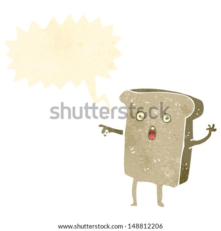 retro cartoon slice of toast character