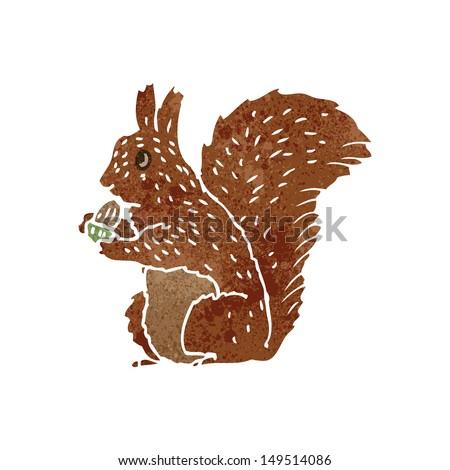 retro cartoon squirrel - stock photo