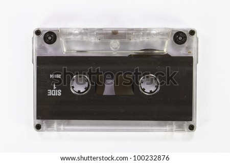 Retro cassette tape from the 80s. old and dusty