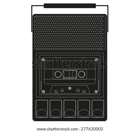 Retro Cassette Tape player and recorder isolated on white . Raster version