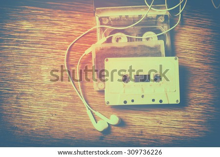 Retro cassette tape. Vintage filtered photo - stock photo