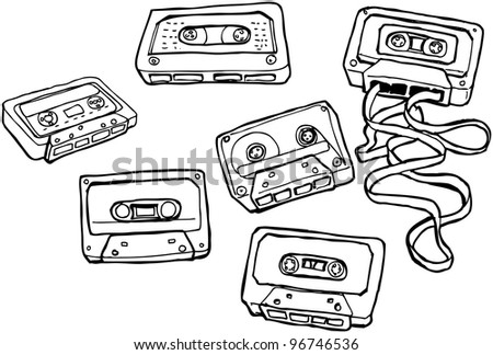 retro cassette tapes cartoon collection (raster version)