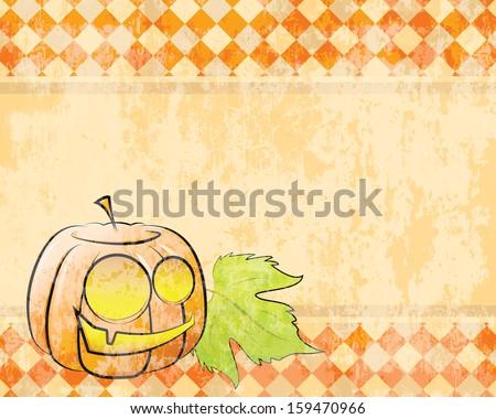 retro checkered background pumpkin decorating for Halloween - stock photo