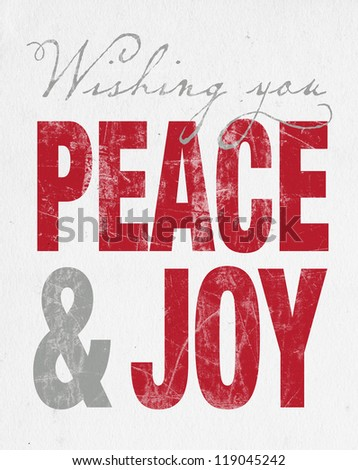 Retro Christmas Letterpress Greeting Card - Peace & Joy - stock photo