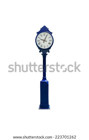 retro clock isolated white with clipping path - stock photo