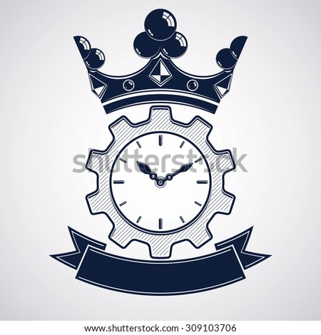 Retro cog wheel and clock with crown, business clock. Engineering design element, gear. Imperial theme element. - stock photo