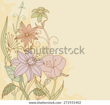 Retro color hand drawn flowers on grunge background - stock photo