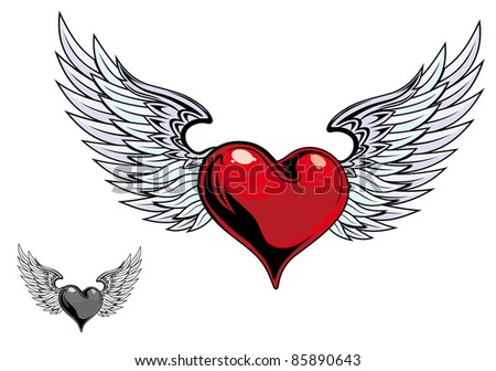 Retro color heart with wings for tattoo design. Vector version also available in gallery - stock photo