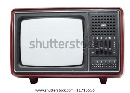 Retro color TV set on white background - stock photo