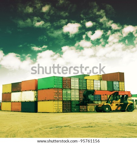 Retro colors of the container terminal - stock photo