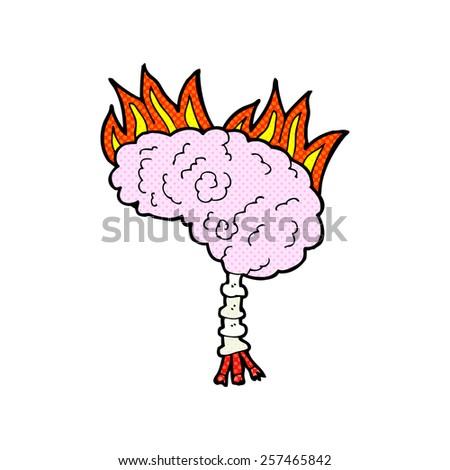 retro comic book style cartoon brain - stock photo