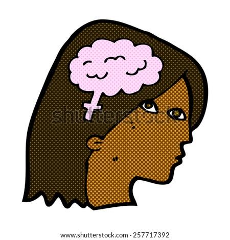 retro comic book style cartoon female head with brain symbol - stock photo