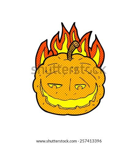retro comic book style cartoon halloween pumpkin - stock photo