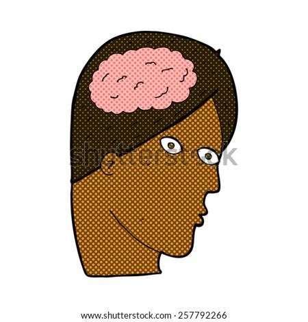 retro comic book style cartoon head with brain symbol - stock photo