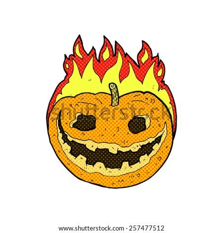 retro comic book style cartoon spooky pumpkin - stock photo