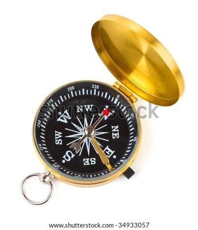 Retro compass isolated on white background - stock photo
