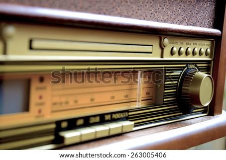 Retro Design Radio receiver device - stock photo