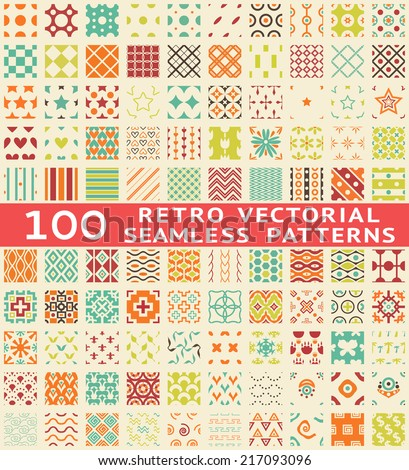 Retro different seamless patterns (with swatch). Endless texture can be used for wallpaper, pattern fills, web page background, surface textures. Set of vintage color geometric ornaments.