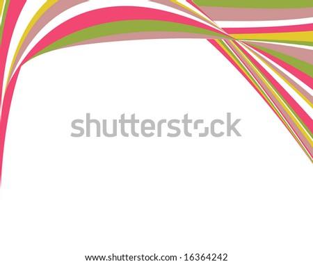 Retro distorted swoopy stripes border - stock photo
