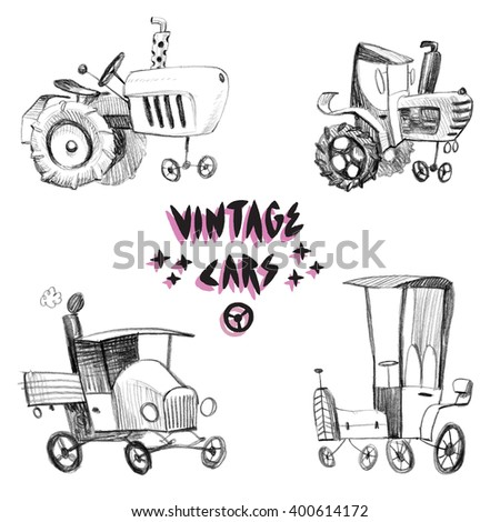 Retro Doodle Set / Sketchy childish vintage cars drawings/ Isolated high resolution scan - stock photo