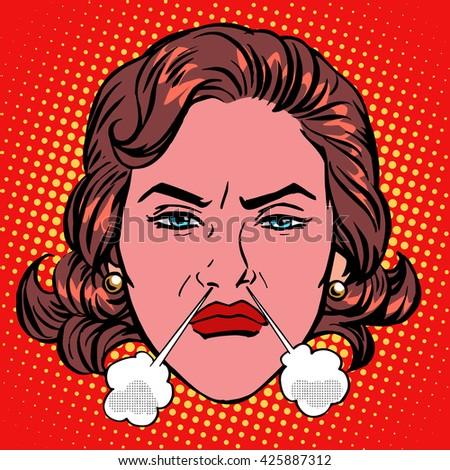 Retro Emoji rage anger boiling woman face - stock photo