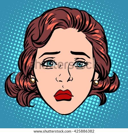 Retro Emoji sadness woman face - stock photo