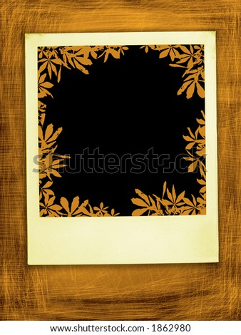 Retro Fall instant photo Frame (with clipping path for easy framing your picture) - stock photo