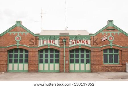 Retro fire station - stock photo