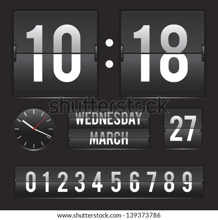 retro flip clock with date and analog dial timer vector template - stock photo