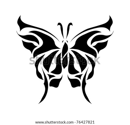 Retro floral  butterfly for valentine day (raster version). Great for signs, web, tattoo, symbol, logo, icon. - stock photo