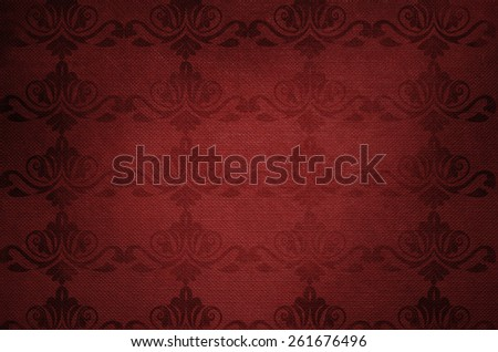 Retro floral ornament, red background with delicate ornament