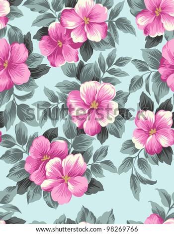 Retro floral seamless background - stock photo