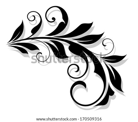 Retro flourish element with shadow for design and embellish. Vector version also available in gallery - stock photo