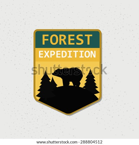 Retro forest expedition logotype (raster version) - stock photo