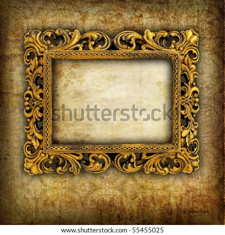 Retro frame over grunge wallpaper - stock photo