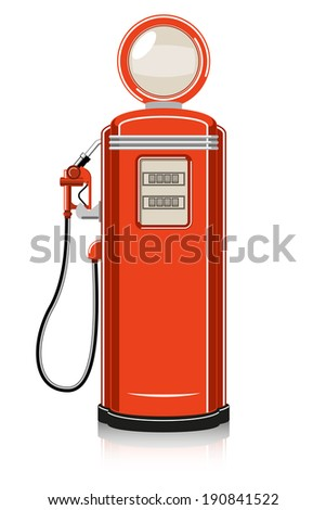 Retro Gas Pump on white background. Raster version - stock photo