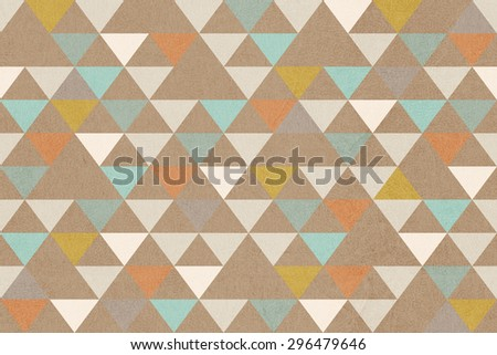 Retro geometric seamless background with grunge paper texture. - stock photo