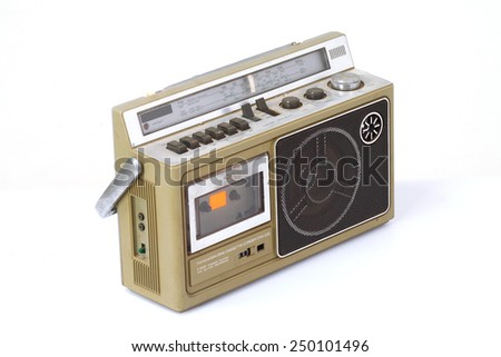 retro ghetto blaster isolated on white background. - stock photo