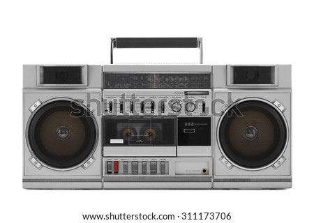 Retro ghetto blaster isolated on white with clipping path - stock photo