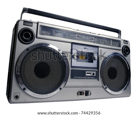 retro ghetto blaster isolated with clipping path - stock photo