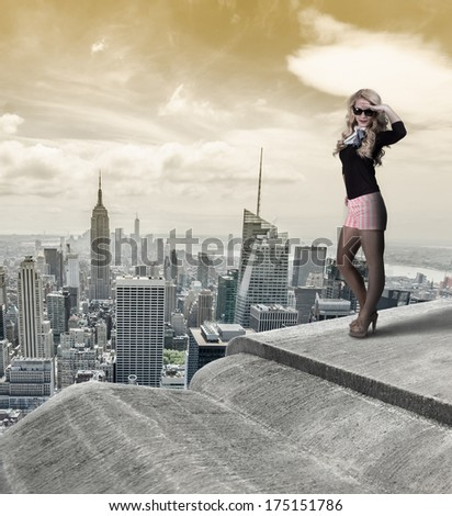 Retro girl over New York City