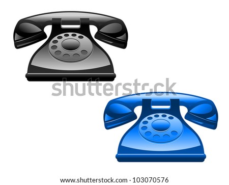 Retro glossy telephone icons isolated on white background, such logo. Vector version also available in gallery