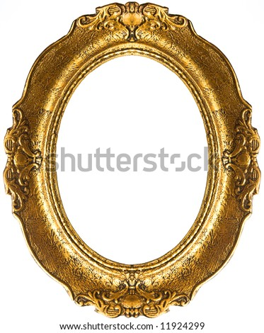Retro gold frame - Oval - stock photo