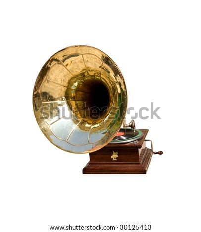 Retro gramophone facing old wall from bricks - stock photo