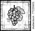 Retro grapes bunch black and white - stock vector