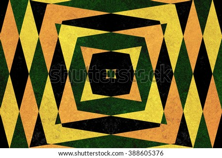 Retro green, yellow and black diamond shapes pattern
