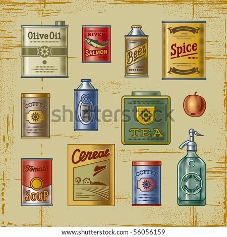 Retro grocery set - stock photo