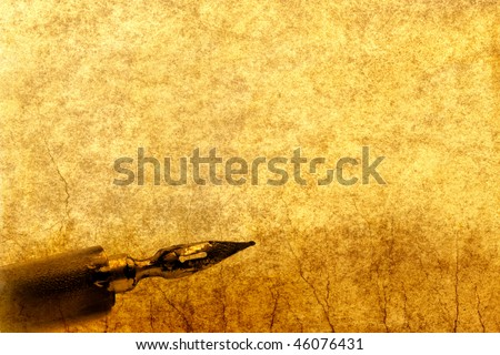 retro grunge background with old pen - stock photo