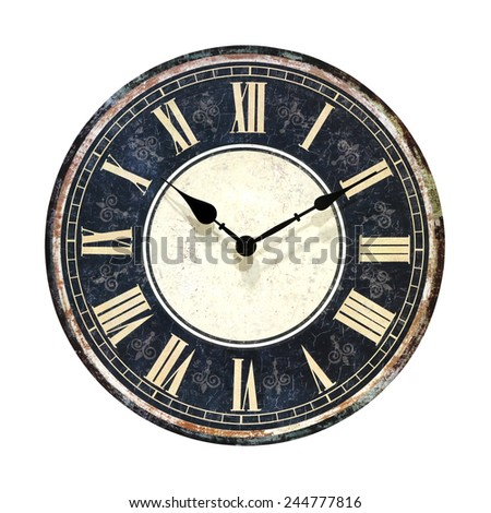 Retro grunge clock isolated with clipping path included - stock photo