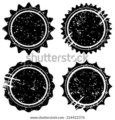 Retro grunge stamps and badges. Classic vintage stars symbols with scuff and scrapes.